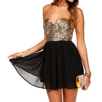 Pre-Order BlackGold Strapless Sequin Tunic