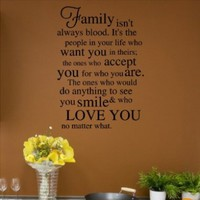 Family Isn't Always Blood (M) Wall Saying Vinyl Lettering Home Decor Decal Stickers Quotes:Amazon:Everything Else