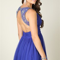 Short Homecoming Dress with Stone Trim Keyhole Back