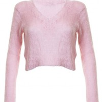 LOVE Blush Fluffy V-Neck Cropped Knit