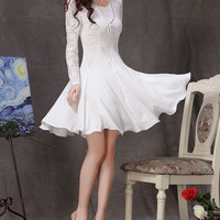 White Lace Chiffon Dress / Little White Dress / White Fit and Flare Dress / Long Sleeve Lace Dress