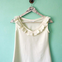 Cream Ruffle top// Sleeveless off white top