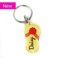 Yellow Flower Flip-Flop Shape Pet ID tag - Happy Tags