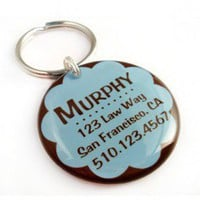 Blue and Chocolate Pet Id Tag - Happy Tags