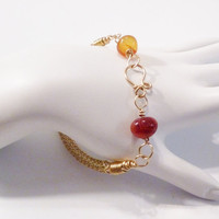 Brass Viking knitted bracelet with red agate pebbles, red agate bracelet, Viking knit bracelet, red bracelet, gold bracelet