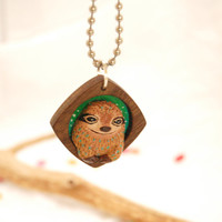 Green Clay Sloth Necklace Wood Framed - Animal Necklace -  Shadowbox Nature Pendant
