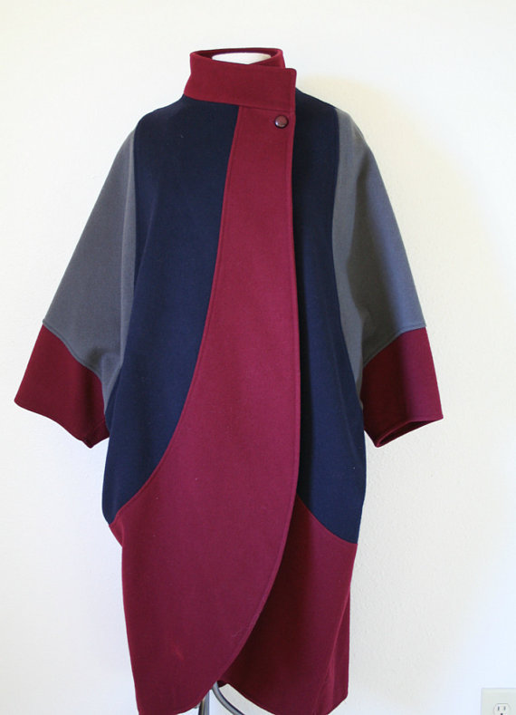 vintage 80s COLOR BLOCK cocoon batwing cape