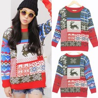 Deer Color Block Womens Pullover Sweater Jumper Knitwear Top HOT Christmas Xmas