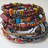 Tribal Gypsy Bangles - Spicy color Set - Boho - Nomadic - Stack Of 12 Bracelets