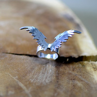 Eagle wings sterling silver ring