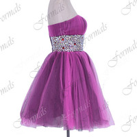 Strapless Mini Short with Crystal Tulle Purple Short Prom Dresses, Wedding party Dresses, Homecoming Dresses