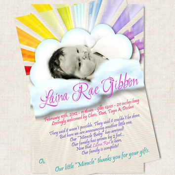 Baby Girl Birth Announcement Thank You by missbellaexpressions