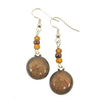 Long, Brown Dichroic Glass Earrings, Dangles - Autumn Romance - 1411
