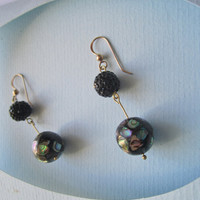 Peacock Abalone Ball and Sparkling Black Ball Earrings