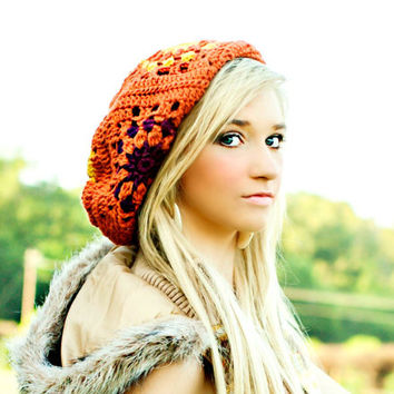 Handmade Hat for Women Fall Fashion Slouchy Beanie Granny Square Teen Girls Hats Burnt Orange Aubergine Sungold