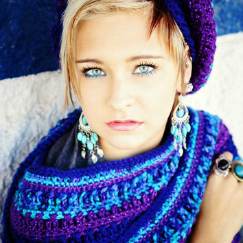 Crocheted Scarf Womens Scarf Teen Scarf Blue and Purple Sparkle Scarf Winter Scarf