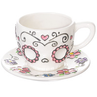Sweet Sugar Skull Teacup & Saucer