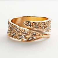 LC Lauren Conrad Gold Tone Simulated Crystal Leaf Bypass Ring