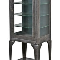early 20th century original and intact highly desirable american medical cold-rolled steel hospital operating room supply cabinet with cabriole style legs