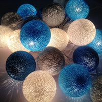 Cotton ball string lights for home decor,party decor,wedding patio,20 pieces indoor string lights bedroom fairy lights,blue,white,light blue