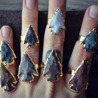 ARROWHEAD Agate Rings /// Electroformed Gemstones /// Gold