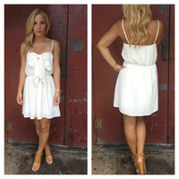 Ivory Spagetti Strap Scoop Bow Dress