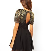 Virgos Lounge Onyx Skater Dress with Embellished Shoulder at asos.com