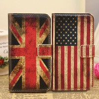 Retro Union Jack Flags Print Book Style Case Cover for iPhone 4 / 4S