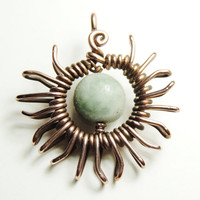 Sun jade pendant - wrapped in copper wire - handmade by keoops8