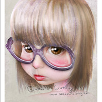 "5x7 Premium Art Print ""Imperfect - Portrait of the Artist as a Child"" Small Size Giclee Print - Lowbrow Art Little Girl with Huge Glasses"