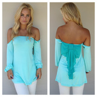 Blue Off Shoulder Blue Bow Top