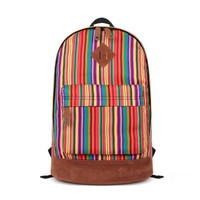 Rainbow Striped Print Canvas School Backpack