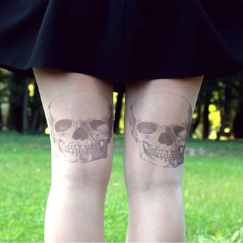 Rock Skulls - Tattoo Tights - Free Shipping - Made to order :)
