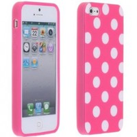 Magenta Pink and White Polka Dot Gloss Flex Gel Case For the NEW Apple iPhone 5 (AT&T, Verizon, Sprint):Amazon:Everything Else