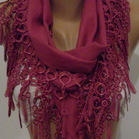Fuchsia Elegance Shawl / Scarf with Lace Edge by womann on Etsy