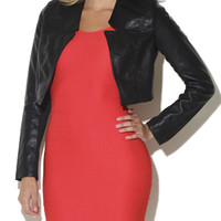 Trapunto Stitch Faux Leather Blazer | Shop New Arrivals at Arden B