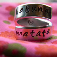 Hakuna Matata //The original  twist aluminum ring Version III