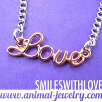 SALE - Love Cursive Charm Letter Necklace in Light Copper and Silver