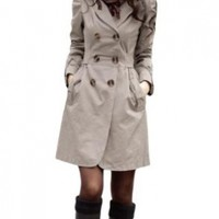 Allegra K Long Sleeve Notched Lapel Belted Trench Coat for Lady:Amazon:Clothing