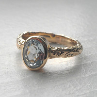 Aquamarine Oval and 14k Yellow Gold Rustic 'Moonrock' Ring - Made to Order