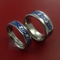 Titanium Bands Celtic Knot Ring Set Any Size 3 to 22 Any Color Inlay | metal-EVOLUTION - Jewelry on ArtFire