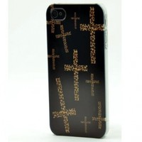 BLACK Snap On Case IPHONE 4 4S Plastic Cross Cover - Leopard CROSS animal print cheetah leopard cougar cat lion + Screen Protector:Amazon:Cell Phones & Accessories