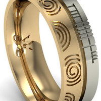 The Wedding Band Shop: 14k Two Tone Gold Newgrange Spiral with Ogham Script Wedding Ring