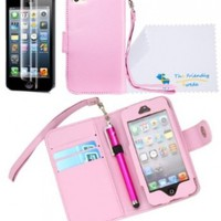 The Friendly Swede PU Leather Folio Wallet Case Cover for iPhone 5 + Matching Stylus + Screen Protector + Cleaning Cloth in Retail Packaging (Baby Pink):Amazon:Cell Phones & Accessories