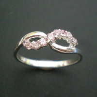 Breast Cancer Awareness Infinity Ring - Pink October Cz Trend - Stering Silver