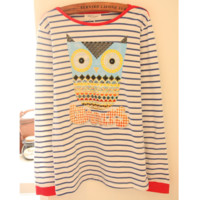 Cute Owl Stripe Sweater Shirt for Women