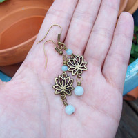 Lotus - Dangle Amazonite Earrings