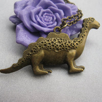 necklaceantique bronze dinosaur necklaceZ020 by happynessDIY