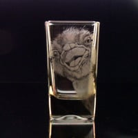 Ostrich shot glass, zany ostrich hand engraved custom barware, gift ideas , for the home, glassware clear shot glass