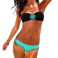 MLS Women's Sexy Swimwear Swimsuit Two-Pieces Bikini Beach Sets Black/Light Blue